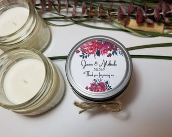 12 - 4 oz Wedding Favors for Guests - Personalized Wedding Candles - Bridal Shower Candles - Bridal Shower Favors - Soy Candle Favors