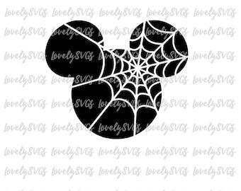 Halloween Mickey Download - Studio3 & SVG File - Instant Download - Silhouette Cricut Spiderweb