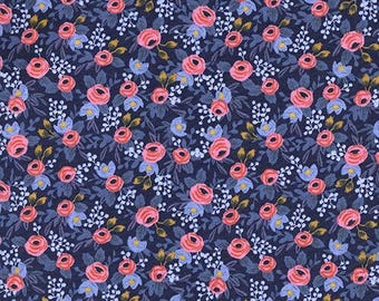 Rifle Paper Co  Cotton and Steel Rosa Navy Quilting Cotton