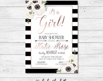 Pink Black and White Baby Shower Invitation, Rose Gold Baby Shower Invite, It's a Girl Invitation, *DIGITAL FILE*