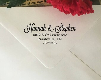 Address Stamp, Wedding Return Address Stamp, Personalized Self Inking Address Stamp, Address Stamp with Names, Wood Rubber Stamp for Invites