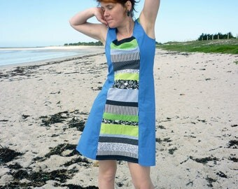 Patchwork dress in lavender, black, white and green