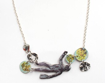 Space Collage Necklace with Meteors