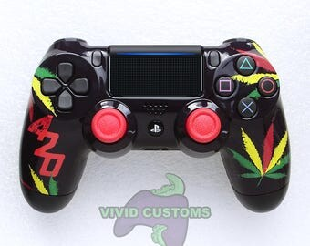 Custom PS4 Controller - Modded Sony PlayStation 4 Pro/Slim Version 2 Dualshock Wireless Pad - 420 Rasta Mod V2
