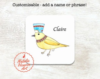 Bird Coaster Customisable Gift Mum Coaster Personalised Gift Friend, Wooden Coasters Customizable Gifts, Egyptian Bird Gift for Bird Lovers