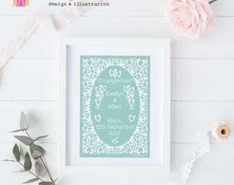 Wedding Print, PERSONALISED Wedding Gift, Engagement Print, Gift for Couple, Romantic Wedding, Wedding Gift, Engagement Gift, Engagement