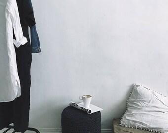 Stuffed crochet round pouf - anthracite grey pouf ottoman