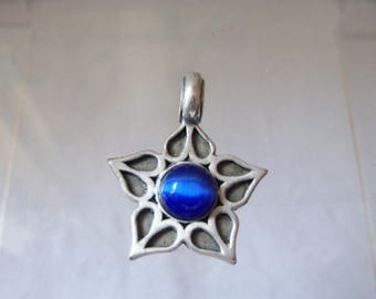 REDUCED Zik Zok Pewter surfer style pendant by TM&C USA, set with deep blue glass cabochon
