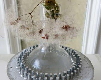 """flower vase """"stylit"""" unique  concrete vase with glass round bulb"""