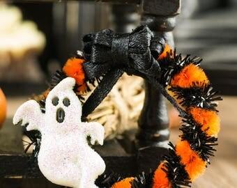 Ghost Halloween Wreath - 1:12 Dollhouse Miniature