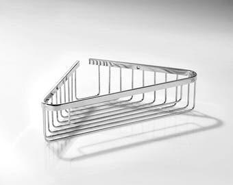 corner basket for shower, brass, polished chrome