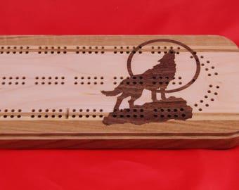 Moon Lite Wolf Cribbage Board
