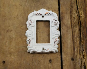 White Cast Iron Single Rocker Light Switch Plate