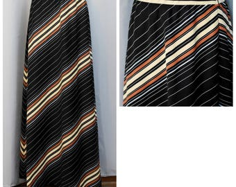 1970s Diagonal Stripes Maxi Skirt