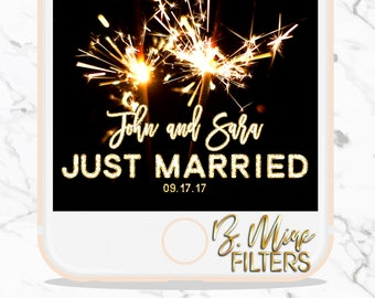 WEDDING SNAPCHAT FILTER, Wedding Snapchat Geofilter, Wedding Filter, Custom Snapchat Filter, Gold Snapchat Filter, Just Married, Sparkler