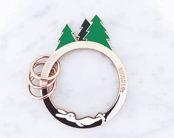 Rabbit Keychain; Forest keychain; Trees keychain; rabbit keyring; rabbit keys; camper keychain; cute keychain