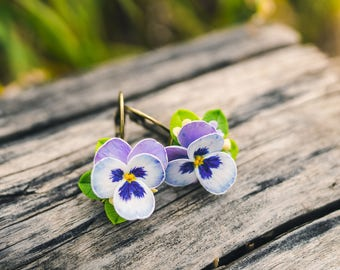 Pansy earrings Blue purple pansy flower violet earrings Pansy jewelry Floral earrings Gift for her Nature floral style Polymer Clay