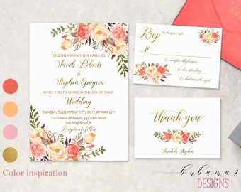 Coral Peach Wedding Invitation Suite Romantic Pink Faux Gold Floral Boho Digital Wedding Invite Set Spring Printable Wedding Invite - WS040a