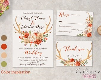 Burnt Orange Floral Deer Antlers Wedding Invitation Suite Brown Tangerine Floral Horns Boho Printable Fall Wedding Invitation Suite - WS034