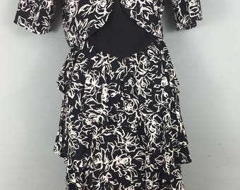 Vintage AFTER DARK black white Ra Ra dress and jacket UK 8/10 Cropped jacket Roses