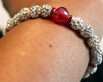 Beautiful Czech crystal disco-ball Rhinestone-beaded bracelet; shamballa, handmade, white, red, cute, casual-wear, party-wear