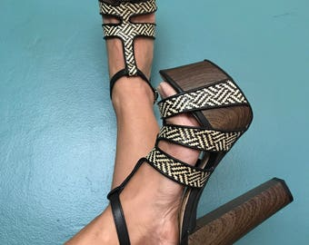 Strappy Platforms. Chunky Shoes. Wooden Platforms. Bohemian Shoes. Platform Shoes. Size 7. Platform Sandle. Chunky Heels. Open Toe Platforms