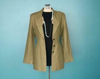 Linen Blazer Minimal Fitted, Long Linen Blazer, Minimalist Blazer, 90s Linen Blazer, Olive Green Blazer, Small, TaraLynEvansStudio