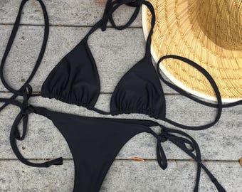Black Seamless Brazilian String Bikini Bottom- Tassels