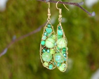 Long green earrings, Bohemian earrings, Elegant earrings, Wire wrapped earrings, Gift for her