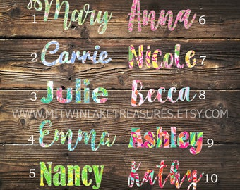 Lilly Pulitzer Name Decal / Custom Pattern, Size, Color  / Car, Yeti, Tumbler, Wall Sticker, Gift Under 5, Cursive Personalized Name