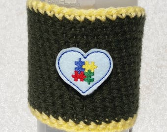 Reusable coffee sleeve, coffee cozy, to go cup sleeve, Autism awareness heart.