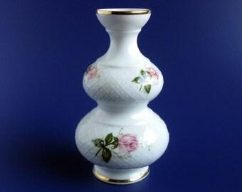 Mid Century Bavarian Vase / Bavaria Seltmann Weiden Porcelain Vase / Annabell Pattern / Floral / Pink Roses / Gold Trim / West Germany / VTG
