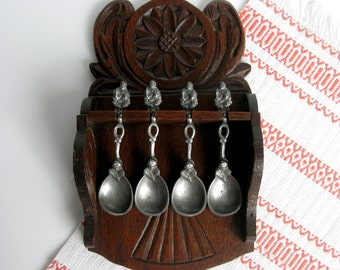 Antique / German Carved Wooden Spoon Rack & Pewter Spoons / Pewter Spoons / Set of Four / Carved Oak Wood Rack / Cherubs Decor/ 19th Century