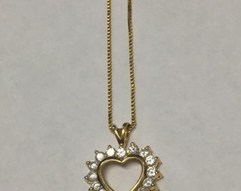 Vintage Sterling Silver Gold Tone Cubic Zirconia Heart Pendant Necklace Signed HAN