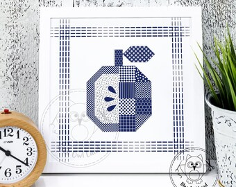 QUILT APPLE. Apple printable wall art. Apple printable wall decor. Home decor. Digital print art. Apple print at home. © Blue Owl Land