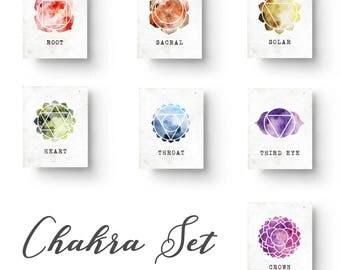 Chakra Set, Chakra Prints, Chakra Art, Yoga Print, Yoga Art, Yoga Studio Decor, Meditation Room, Meditation Art, Zen Art, Zen Decor