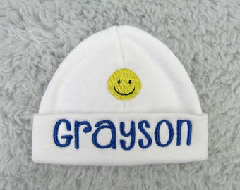 Personalized baby hat with smiley face - micro preemie, preemie, newborn - baby shower gift, newborn photography, preemie clothes, NICU gift