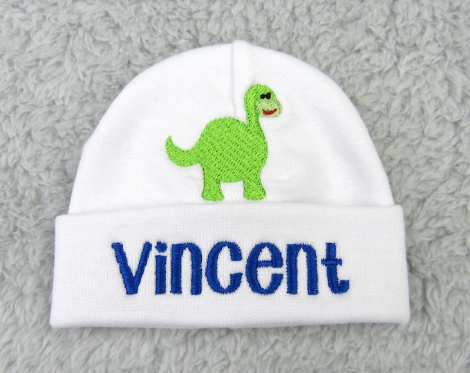 Personalized micro preemie, preemie, newborn hat - baby boy baby girl NICU clothes, Dino baby shower gift newborn pictures going home outfit
