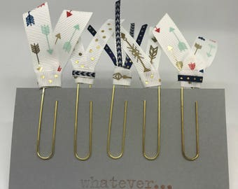 Floral Planner Clips Gold Polka Dots Golden Boho Arrows Planner Accessories Ribbon Paper Clips Back to School or Home Office Supplies