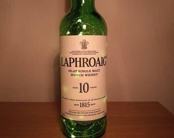 Upcycled Laphroig 10 Year Old Whisky LED Light Bottle