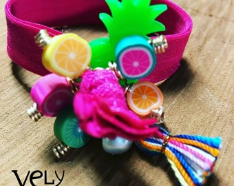 Elastic Bracelet with Acrylic Pineapple and Tassel