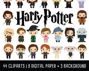 Harry Potter Clipart Bundle, Wizzard clip art, magic clipart, harry potter birthday, harry potter party, Instant Download PNG 300 - dpi