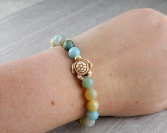 Teal Mix Semi-Precious Amazonite Sea Turtle Bracelet | Sea Turtle Bracelet | Charitable Cause | Beach Bracelet | For Her | Gift