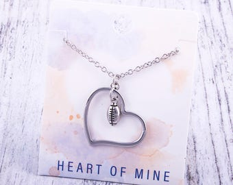Customizable! Heart of Mine: Football Silver Necklace - Great Football Gift!