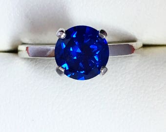 September Birthstone Ring, Sapphire ring, CZ sapphire, Old European Cut ring, Sterling Silver ring, promise ring, blue cz, birthday gift