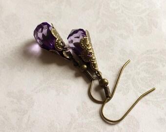 Purple Victorian Earrings, Purple Earrings, Victorian Earrings, Purple Jewelry, Victorian Jewelry, Amethyst Earrings, Filigree Earrings