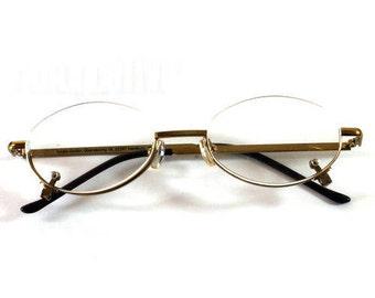 Vintage Reading Glasses, Removable Glass, Tchibo Gnbh, Oberseering 18, Hamburg, Germany Glasses, Gold Colored Frame