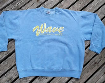 "Vintage 80's / 90's ""Wave Shop Authentic Wear"" Baby Blue & Yellow Crew-neck Sweatshirt Made in USA Fruit of the Loom XL"