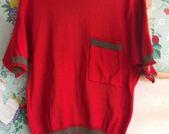Vintage 1960/1970s Mod Italian Gipsa Red Short Sleeve Cotton Sweater. Small/Medium.
