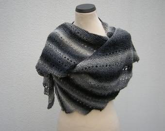 Shawl, wrap, hand knit, shawl, scarf, gray, grey
